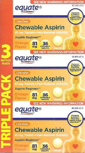 Equate Aspirin 81 Mg, Adult Low Dose, Orange Flavor, 108 Chewable Tablets