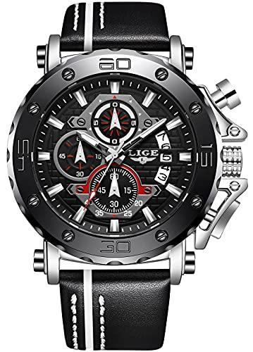LIGE Moda Relojes Hombre Deportes Impermeable Analógico Cuarzo Acero Inoxidable Reloj de cinturón empresarial