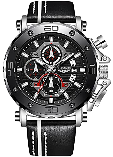 LIGE Men Watches Chronograph 47mm Watches Waterproof Casual Business Black Watches Multifunction...