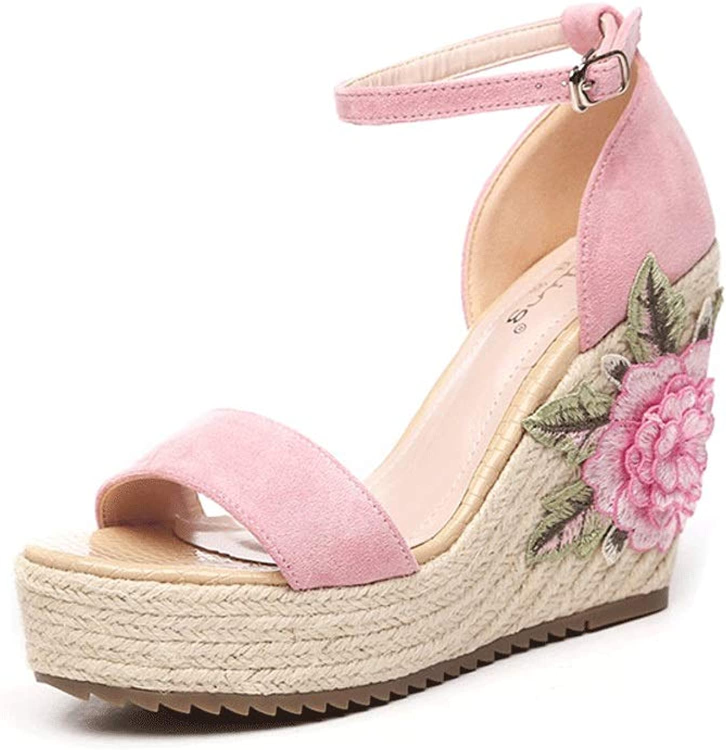 Summer New Women's shoes National Wind Sandals Bohemian Flowers Embroidery Small Size Women's shoes Stylish and Comfortable