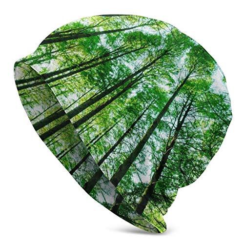 AEMAPE Paisajes Árboles del Bosque Verde Sombrero de Punto para Adultos Gorro Holgado y Suave Gorro de Skully Gorro de Cobertura de Medio pasamontañas