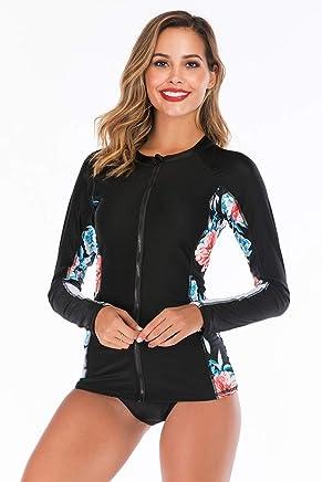 X-xyA Women Short Sleeve Rash Guard Lace Hollow Floral Print 2PCS Swimsuit Surfing Swimwear LC410977,A,XL