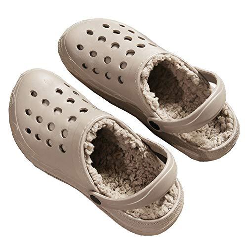 DALLL Pantuflas de invierno para hombre y mujer, cómodas pantuflas para exterior, impermeables, dos materiales cálidos, beige, 7,5
