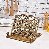 MyGift Rustic Dark Brown Burnt Wood Adjustable Foldable Kitchen COOKBOOK Carved Cutout Recipe Holder Rack Stand