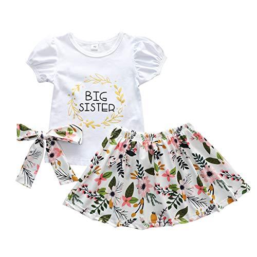 Bebita Ropa a Juego Niños Little Big Sister Manga Corta Romper Top + Pantalones Florales/Vestido + Diadema/Sombrero Conjunto