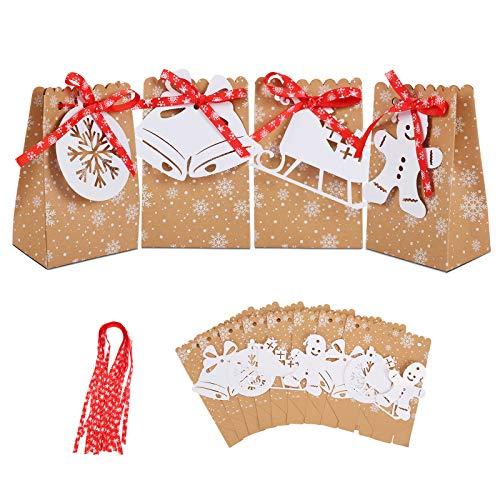 Herefun 24Pcs Weihnachten Geschenktüten, Adventskalender zum Befüllen, Geschenk Papiertueten, Weihnachts Geburtstag Geschenkverpackung Gastgeschenke Tüten Mitgebseltüten