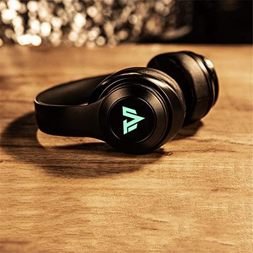 XJPB Auriculares inalámbricos con micrófono sobre el oído Auriculares Ejercicio Estéreo Deep Bass 7.1 Sound Sound Soft Earmuffs PC TV Auriculares para Oficina/Gimnasio,Negro