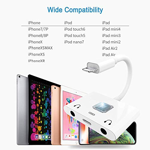3 in 1 Dual 3.5mm Headphone Jack Adapter - Earphone Jack Audio and Charging Adapter - Headphone Splitter For iPhone 11 / XS / XS Max / XR / X / 8 / 8plus / 7 / 7plus / iPad -Support IOS 13- White