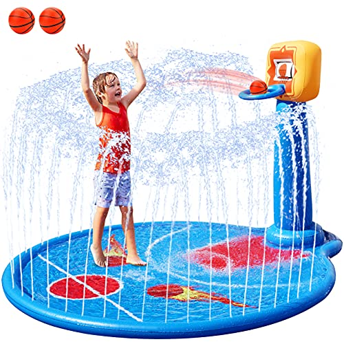 """FORTY4 77"""" Large Splash Pad Sprinkler for Kids Toddlers, with Inflatable Basketball Hoop & 2 Mini Basketball, Summer Outdoor Water Play Mat Toys for 3-8 Year Old Girls Boys"""