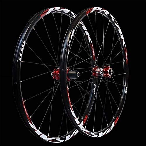 DL 6/27.5 Zoll 24-Loch-Leichtmetallrad Rennrad Laufradsatz Scheibenbremse,Red,27.5inch