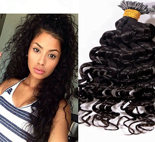 Remeehi 0.7g/strand 70g Brazilian I Tip Curly Virgn Human Hair Extensions Deep Curly I Stick Tip Pre-Bonded Hair Extensions (30' 2#)