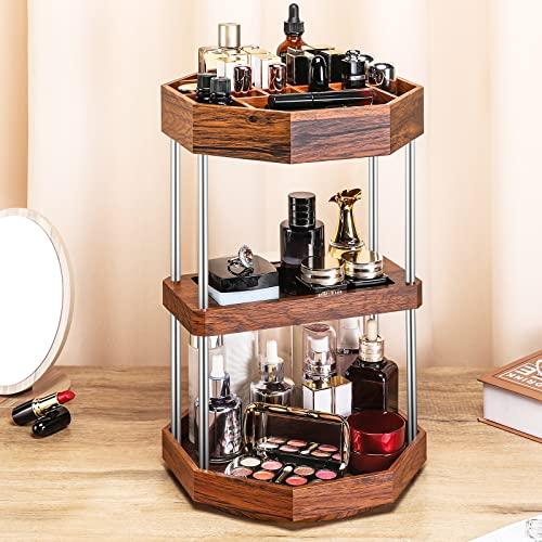Seelux Make up Organizer Vintage, 360° Drehbar Beauty Kosmetik Organizer, 3 Schichten, Schmink Aufbewahrung für Pinsel, Lippenstifte Nagellack Parfüm und Schmuck