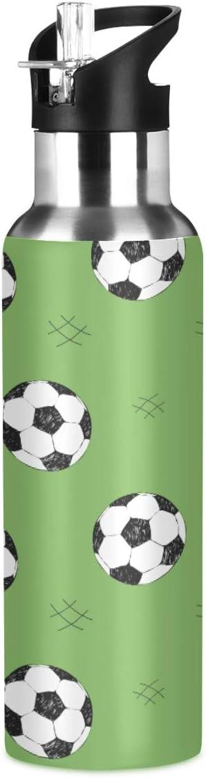 MNSRUU Botella de agua de fútbol aislada para niñas y niños, botella de agua de acero inoxidable con pajita, 20 onzas