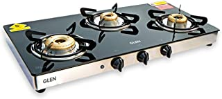 GLEN Glass Gas Stove 1033GTXL with Auto Ignition Forged Brass Burner, Double Drip Tray