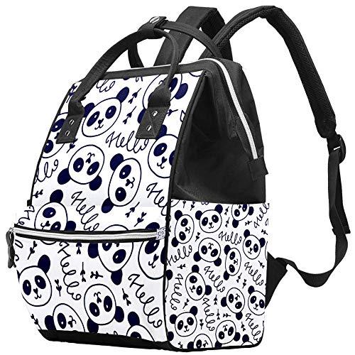 Mumien-Wickeltasche, Rucksack, gezeichnetes Panda-Gesicht, multifunktional, wasserdicht, Windel, Reiserucksack für Babypflege