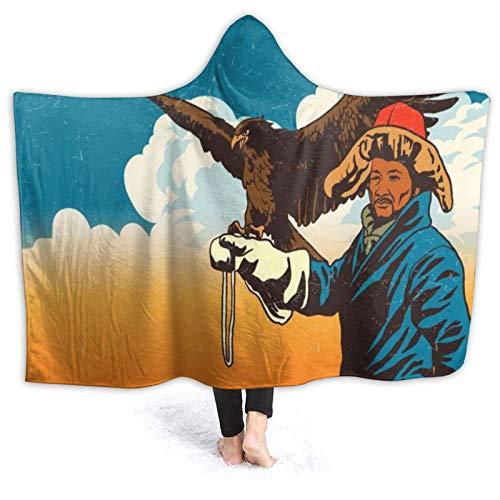 CVSANALA Tragbar Kapuzendecke Plüsch Wickeln,Der Steinadler mit mongolischen Leuten im Weinlesestil,Sanft Warm Vlies Decke werfen Mantel Gemütlich für Couch Bed Home Travel, 50