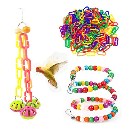 Juego de columpios de jaula para pájaros de 3 piezas, juguetes para loros con campana, hamaca colgante de masticación colorida para periquitos, guacamayos, cotorras, periquitos, agapornis
