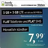 handyvertrag.de LTE All 5 GB + 3 GB – mensual (Flat Internet 8 GB LTE con máx. 50 Mbit/s con Datos automáticos desactivables, telefonía Plana, SMS y UE extranjera, 7,99 Euros/Mes).