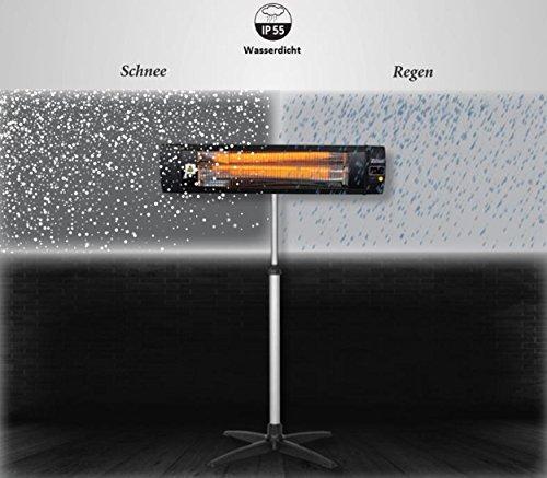 Karbon Heizstrahler | Terrassenstrahler | Heizgerät | Infrarotstrahler | Carbonstrahler | 2000 Watt | Display | Karbonlampe | Timer | Fernbedienung | Spritzwasser geschützt | Überhitzungsschutz | 10.000 Stunden | - 6