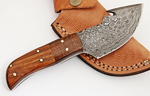 GladiatorsGuild Custom Damascus Steel Skinner Hunting Knife