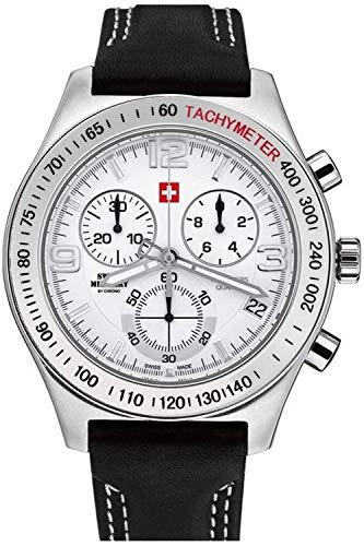 Swiss military Chrono Reloj para Hombre Analógico de Cuarzo con Brazalete de Piel de Vaca SM34016.03