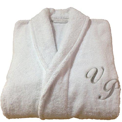 BgEurope Accappatoio senza cappuccio, in spugna di cotone, personalizzabile, bianco, 100% Cotone, bianco, medium