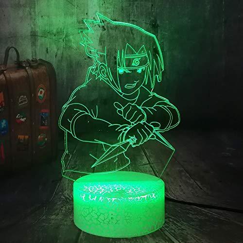 Anime Figure Naruto Fans Uchiha Sasuke 3D Optical Night Light Baby Table Lamp Kid Holiday Kid New Year Christmas lamp Home Decor