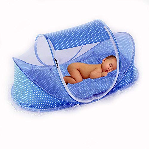 Depory Summer Mosquito Net for Children,Portable Folding Baby Travel Bed Crib Baby Cots Newborn Foldable Crib (BLUE)