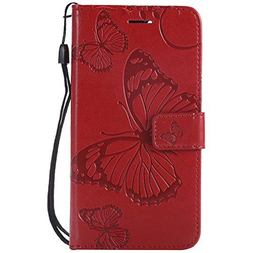 Paike Funda para Huawei Huawei Huawei funda Huawei Wallet Case Cover 3D con mariposa relieve cartera Case Case Case separate Karteneinschub Magnetverschluss Handytasche