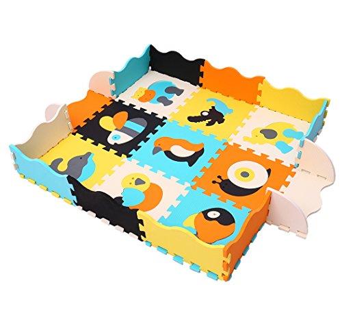 MQIAOHAM 9 Stück Spielmatte Non Toxic Crawl Mat mit weicher Dicker Eva Schaum für den Fallschutz 9 Fliesen mit Kanten für Tummy Time und Crawling Style Mehrzweck Schaum Fußmatten P014B3010