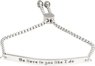 A N KINGPiiN Believe in You Like I Do - Pulsera inspiradora ajustable, cadena de eslabones, joyería motivacional, regalo d...