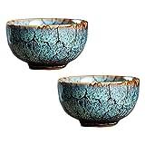 Pigeon Fleet 2,3 oz Chinois Kungfu Tasse à thé à la Main en Porcelaine Japonaise Tasse de vin Tasse à thé Bol, 2 pcs Bleu