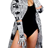 DooWay Long Leather Gloves Newspaper Print Elbow Length 16 inches Wet Look for Costume Party