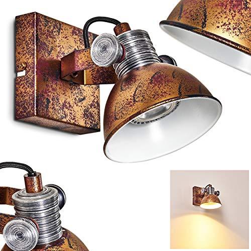 Wandleuchte Gudo, dimmbare Wandlampe aus Metall in Bronze/Weiß, 1-flammig, Lampenschirm dreh- u. schwenkbar, 1 x GU10-Fassung, max. 7 Watt, Wandspot im Retro-Design, für LED Leuchtmittel geeignet