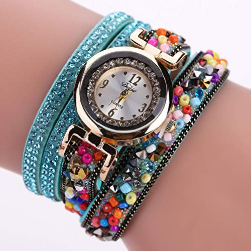 DMUEZW De Las Coloridas Cuentas De Colores Alrededor del Anillo Pulsera con Reloj De Aleación De Diamantes
