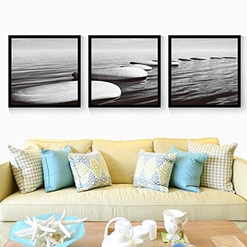 Everyday home 3 Multi murale Set bois massif mer Triptyque salon murale pour salon/avec des photos (Couleur : Black box, taille : 80 * 80cm)