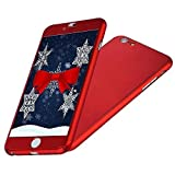 iPhone 6/6S Case, IPAKY All-Round Protective Slim Case Cover with Tempered Glass Screen Protector Skin for Apple iPhone 6/6S 4.7 Inch (Red)