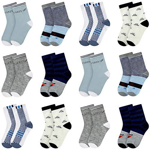 Libella 12er Kinder Jungen Socken mit Streifen und Fahrrad Muster Kids Füßlinge Sneakersocken bunt 2802 27-30
