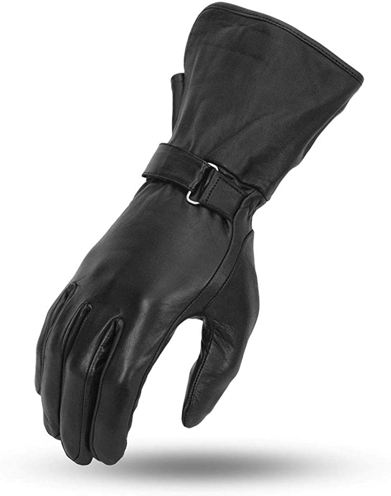 First Manufacturing Ladies Light Weight Gauntlet Leather Motorcycle Gloves (Black, X-Small)