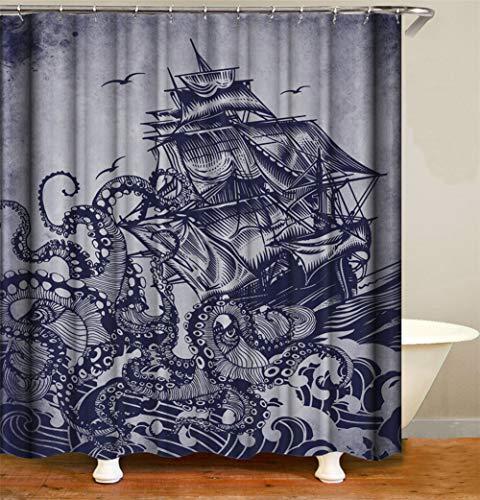ZZZdz De golven rollen over de zee. Een octopus wist de zeilboot. Douchegordijn. Waterdicht. Eenvoudig te reinigen. 180 x 180 cm.