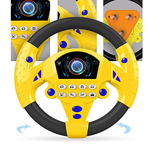 Steering Wheel Toys for Toddlers, Children Steering Wheel with Sound Simulation Driving Car Toys, Simulation Steering Wheel Toy Pretend Driving Toy for Boys and Girls, Kids Interactive Toys