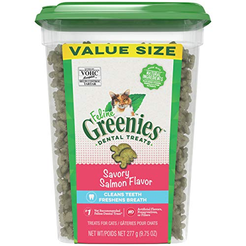 FELINE GREENIES Natural Dental Care Cat Treats, Salmon Flavor, All bag sizes