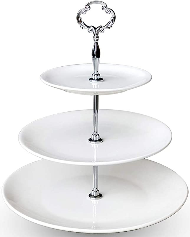 3 Tier Serving Tray Ceramic White Stand For Cupcake Cake Dessert Pastry Fruit Tea Party Big Size