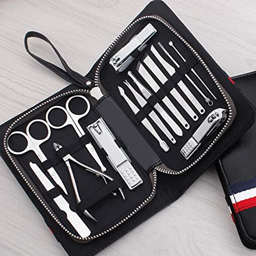 Moksh Enterprise Manicure Pedicure Set Nail Clippers Kit of 16Pcs, Stainless Steel Professional Grooming Kit, Facial & Hand & Foot Beauty Set, Nail Cutter Tools with Luxurious Travel Case
