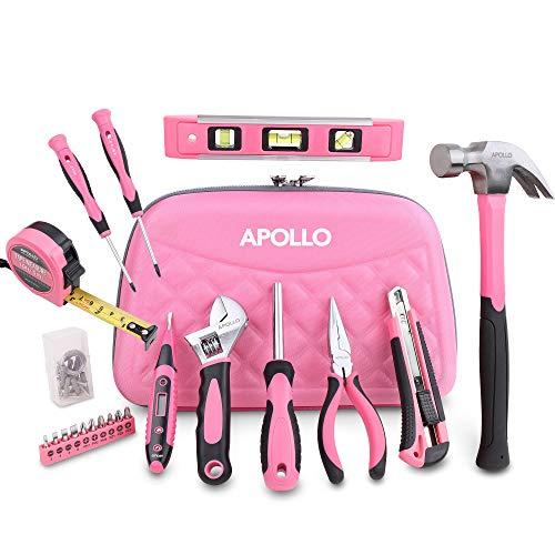 Apollo 61-teiliges Pinkes Werkzeug in einer Stylischen Werkzeugtasche mit Reisverschluss für die Frau im Haus