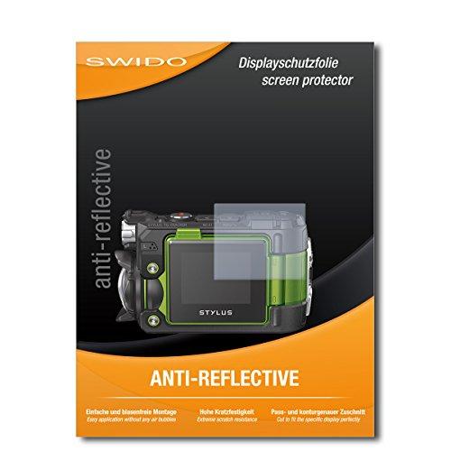 SWIDO Schutzfolie für Olympus TG-Tracker [2 Stück] Anti-Reflex MATT Entspiegelnd, Hoher Härtegrad, Schutz vor Kratzer/Displayschutz, Displayschutzfolie, Panzerglas-Folie