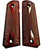 Premium Gun Grips Compatible Replacement for 1911 Full Size Double Diamond Classic Checkered Rosewood