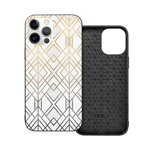 Funda protectora compatible con iPhone 12 / iPhone 12 Pro Gold y Grey Geo Phone Case Funda suave silicona TPU
