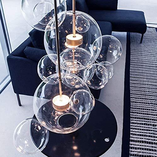 RUCIEDG Lampadario A Sfera A Bolle, Luce Nordica di Alta qualità in Stile Nordico con Bolle di Sapone in Ferro Battuto , Plafoniere A LED in Vetro Trasparente con Paralume (Size : 4 Balls)
