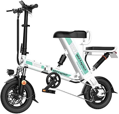 RDJM Bici electrica Bicicleta Plegable eléctrico for Adultos, de 12 Pulgadas Bicicleta eléctrica/Conmuten E-Bici con Motor 240W, 48V 8-20Ah batería de Litio Recargable, 3 Modos de Trabajo